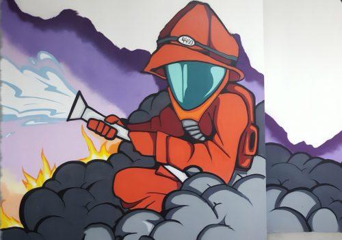 Fassadengestaltung-Feuerwache-Feuerwehrmann